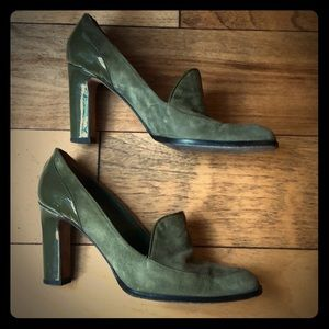 Anne Klein army green suede pump size 7.5